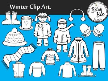 FREEBIE WINTER CLOTHES CLIP ART