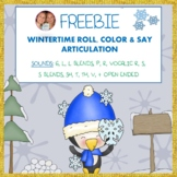 FREEBIE! WINTERTIME ROLL & COLOR ARTICULATION TARGETING 12 SOUNDS!