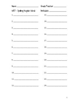 FREEBIE! WIST Spelling Paper