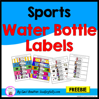 FREE!! Water Bottle Labels: Gift for Teachers, Staff, or Students! (Sports)