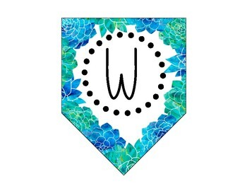 FREEBIE! Watercolor Blue and Green Floral Welcome Sign