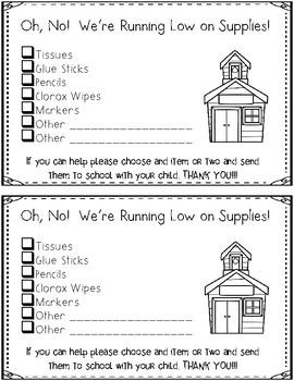 FREEBIE** We're Running Low on School Supplies {Parent Note}