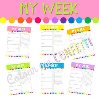 FREEBIE Weekly Planner - Colour me Confetti