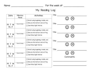*FREEBIE* Weekly Primary Reading Log