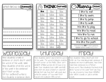FREEBIE Weekly Sight Words Booklets: Whole Group, Small Group, Intervention
