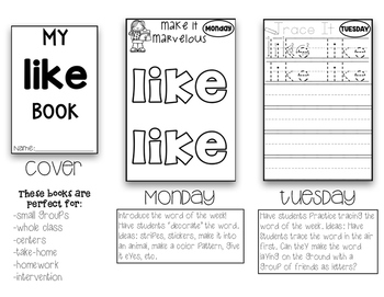 FREEBIE Weekly Sight Words Booklets Whole Group Small Group Intervention