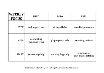 FREEBIE Weekly planner for mindset: mind, body & fuel