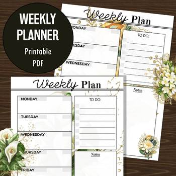 FREEBIE: Weeky Planner - Gold White Floral