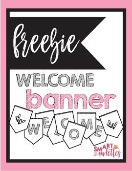FREEBIE - Welcome Banner - Back to School - Black & White Modern - Scallop