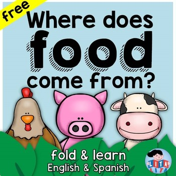 FREEBIE Where does food come from? fold and learn