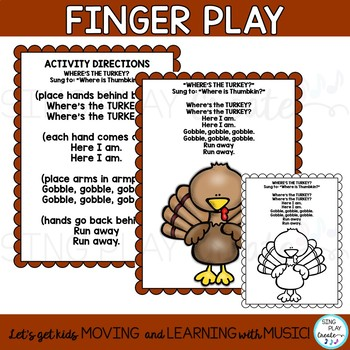 "FREEBIE: ""Where's the Turkey?"" Finger Play with Literacy Activities PreK-1"