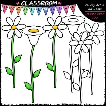FREEBIE White Flowers Clip Art & B&W Set