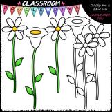 FREEBIE White Flowers Clip Art & B&W Set