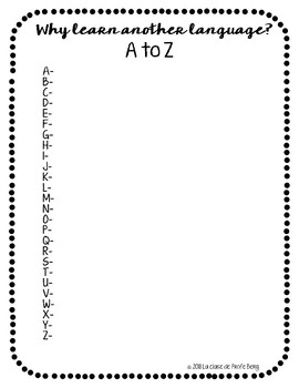 FREEBIE Why learn another language A to Z List