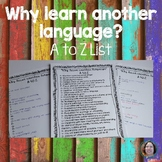 Why learn another language A to Z List FREEBIE