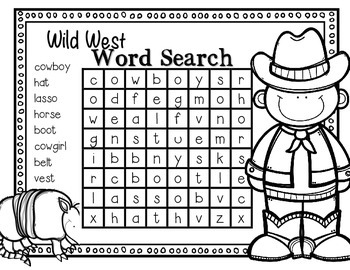 FREEBIE--Wild West Word Search for K-2