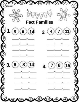 Winter Fact Families   Winter Worksheet   Winter Math   Free
