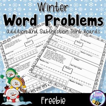 Math Word Problems Addition and Subtraction within 20 Winter Freebie