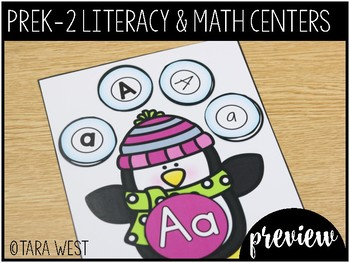 FREEBIE Winter PreK, K, 1st and 2nd Grade ELA & Math Centers Preview