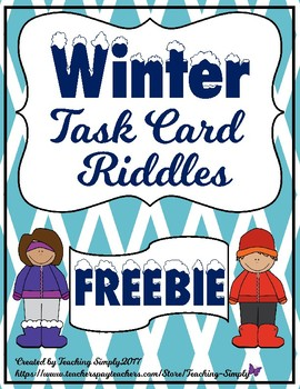 FREEBIE Winter Riddle Task Cards