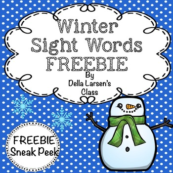 FREEBIE Winter Sight Words