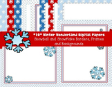 Winter Digital Papers Pack- Snowballs/Snowflakes Borders, Frames, Backgrounds