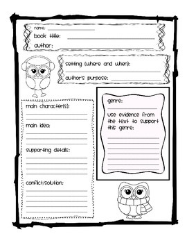 FREEBIE Winter Themed Fiction Reading Graphic Organizer