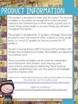 FREEBIE - Winter Themed No Prep Printables - Literacy and Math