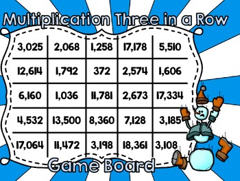 FREEBIE! Winter Three in a Row 2-3 Digit by 2 Digit Multiplication