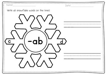 FREEBIE Winter snowflake CVC words reading & writing worksheets