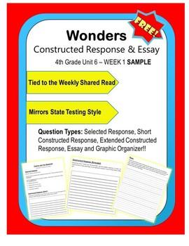 FREEBIE Wonders – Unit 6 WK1 (4th) Constructed Response Practice