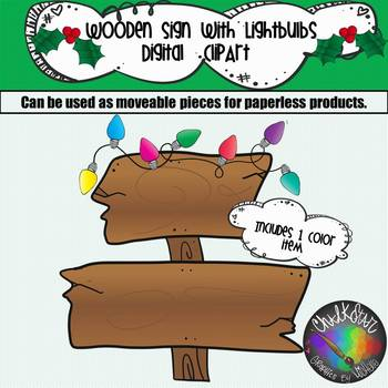 FREEBIE- Wooden sign with Christmas Lights Clip Art
