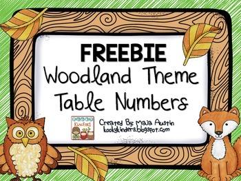 FREEBIE Woodland Theme Table Numbers