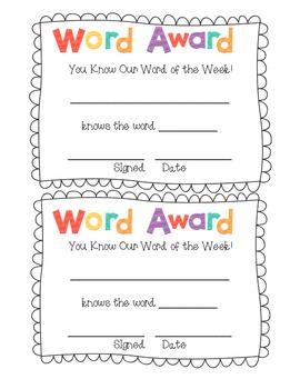 FREEBIE- Word Award