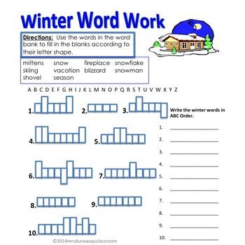 FREEBIE Word Work for Winter/December