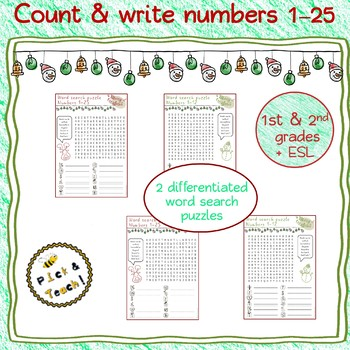 FREEBIE ! Word search puzzles – Numbers 1-25