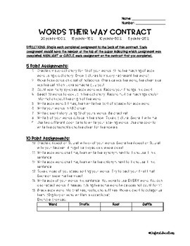 FREEBIE: Words Their Way Spelling Contract