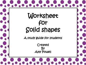 FREEBIE- Worksheet for Solid Shapes