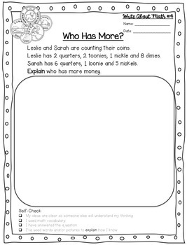 FREEBIE Write About Math Money Journal Prompt