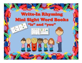 "FREEBIE!! Write-In Rhyming Mini Sight Word Books ""is"" and"
