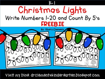 FREE DOWNLOAD : Write Numbers 1-20 Christmas Lights