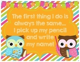 FREEBIE Write Your Name on Your Paper Reminder Poster with Owl