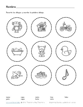 FREEBIE:  Write beginning sound, syllable or word below each picture