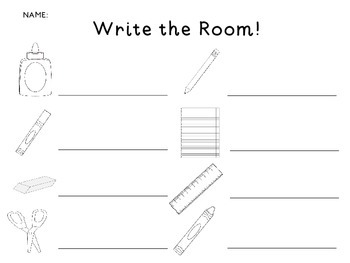 FREEBIE Write the Room School Supplies