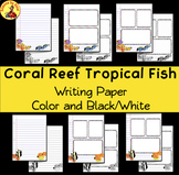 FREEBIE!! Writing Paper CORAL REEF TROPICAL FISH Color and Black/White