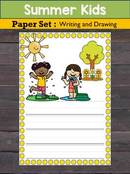 FREEBIE : Writing Paper Set : Summer Kids -Primary Lines