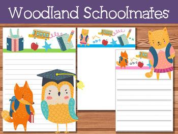 FREEBIE :  Writing Papers : Woodland Schoolmates (Set 2)