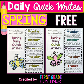 Quick Write Writing Prompts Spring Activities