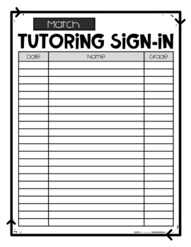 FREEBIE Year-Round Tutoring Sign-In Sheets by Education and Inspiration