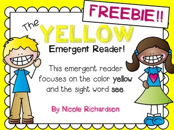 FREEBIE! Yellow Emergent Reader!